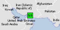 Green earthquake alert (magnitude 5.5M and depth 10km) in Iran 18/05/2013 10:57 UTC, 410000 people within 100km.