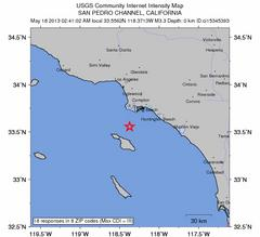 Earthquake Reported in San Pedro Channel